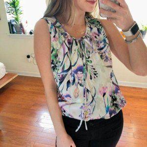 Amanda Uprichard Floral Watercolor Tank Top Blouse